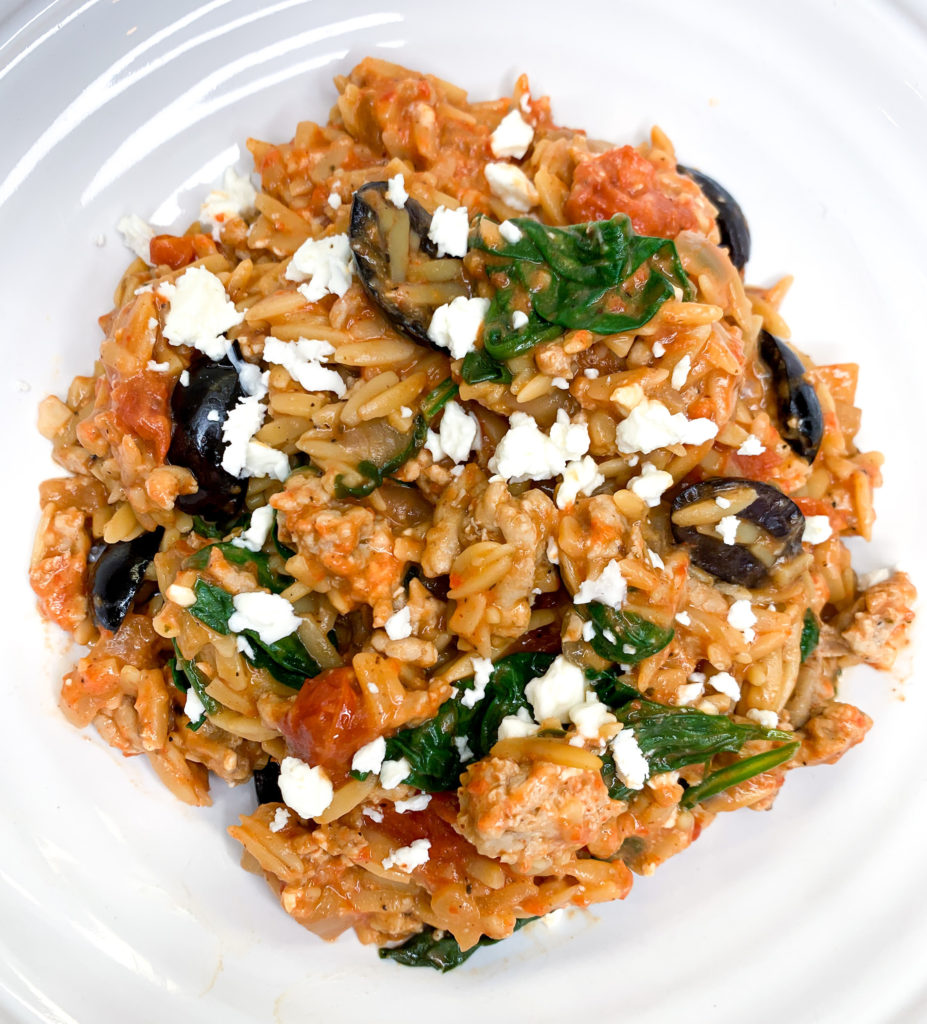 One Pot Greek Orzo Pasta by The Savvy Spoon